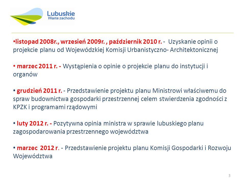 3 listopad 2008r., wrzesień 2009r., październik 2010 r. - Uzyskanie opinii o projekcie planu od Wojewódzkiej Komisji Urbanistyczno- Architektonicznej