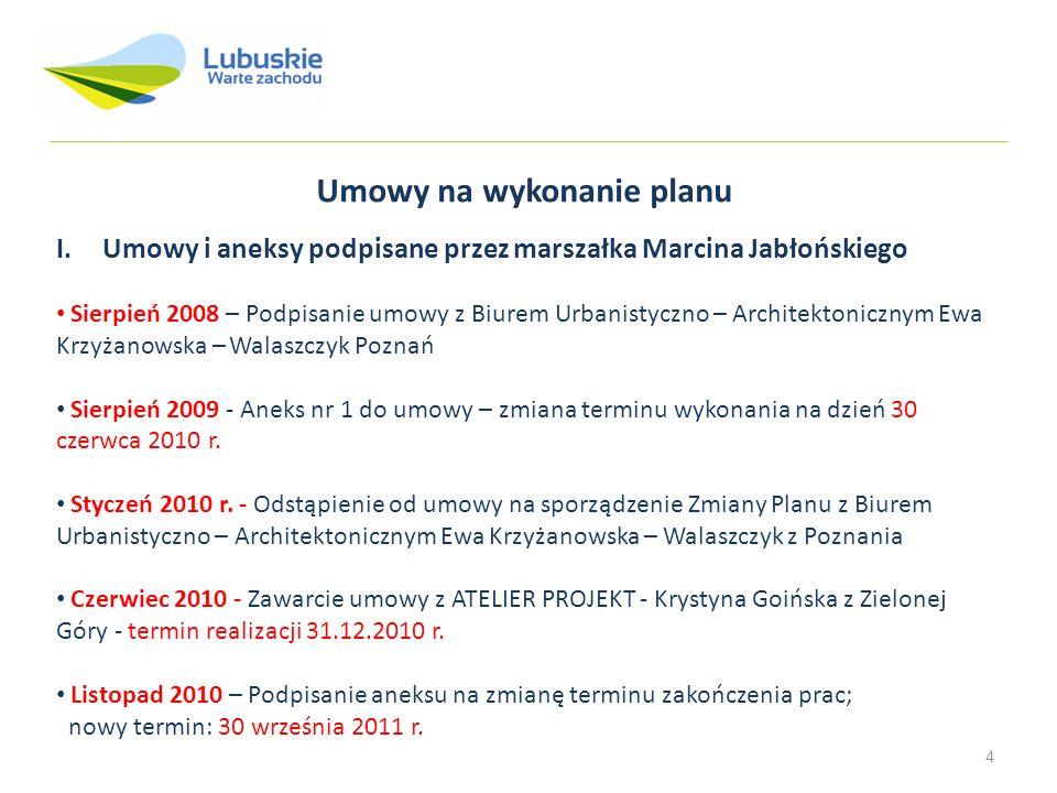 4 Umowy na wykonanie planu I. Umowy i aneksy podpisane przez marszałka Marcina Jabłońskiego Sierpień 2008 – Podpisanie umowy z Biurem Urbanistyczno –