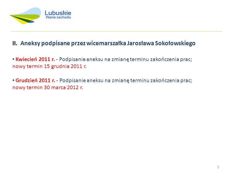 5 Kwiecień 2011 r. - Podpisanie aneksu na zmianę terminu zakończenia prac; nowy termin 15 grudnia 2011 r. Grudzień 2011 r. - Podpisanie aneksu na zmia