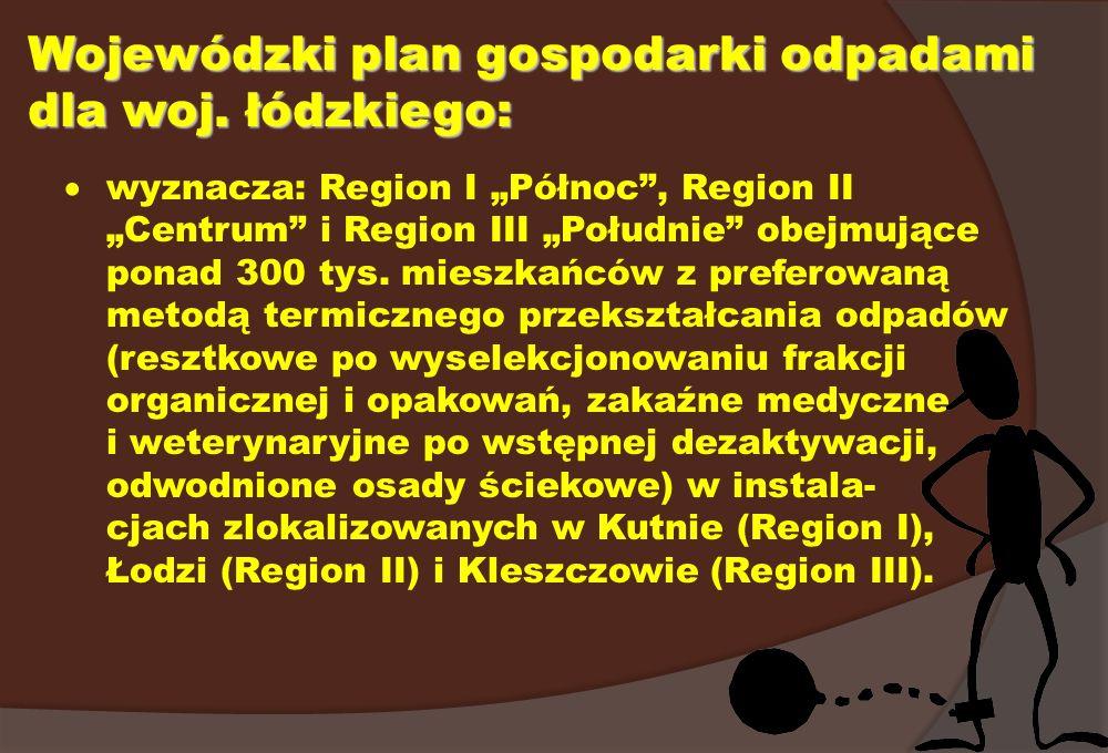 Wojewódzki plan gospodarki odpadami dla woj. łódzkiego: wyznacza: Region I Północ, Region II Centrum i Region III Południe obejmujące ponad 300 tys. m