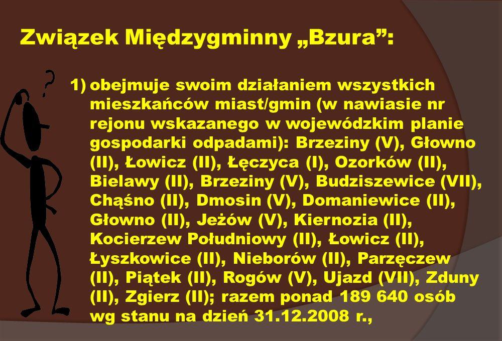 Związek Międzygminny Bzura: 1)obejmuje swoim działaniem wszystkich mieszkańców miast/gmin (w nawiasie nr rejonu wskazanego w wojewódzkim planie gospod