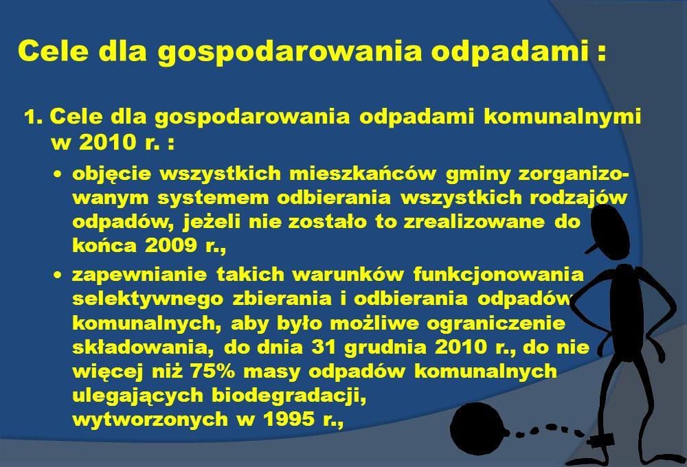 Cele dla gospodarowania odpadami : 1. Cele dla gospodarowania odpadami komunalnymi w 2010 r. : objęcie wszystkich mieszkańców gminy zorganizo- wanym s