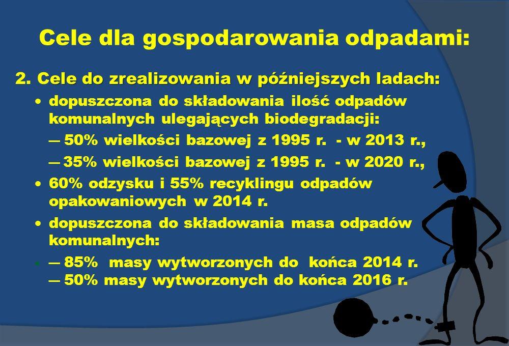 Cele dla gospodarowania odpadami: ele do zrealizowania w późniejszych ladach: 2. Cele do zrealizowania w późniejszych ladach: dopuszczona do składowan