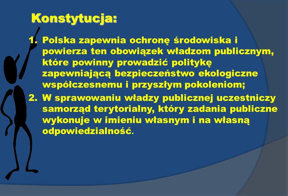 Konstytucja: 1.Polska zapewnia ochronę środowiska i powierza ten obowiązek władzom publicznym, które powinny prowadzić politykę zapewniającą bezpiecze