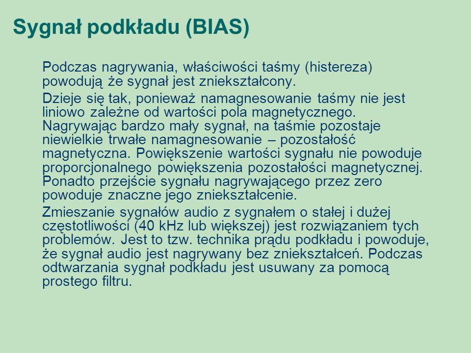 Sygnał podkładu (BIAS) Podczas nagrywania, właściwości taśmy (histereza) powodują że sygnał jest zniekształcony. Dzieje się tak, ponieważ namagnesowan