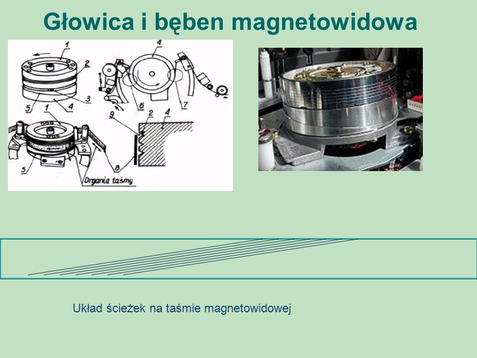 Głowica i bęben magnetowidowa Układ ścieżek na taśmie magnetowidowej
