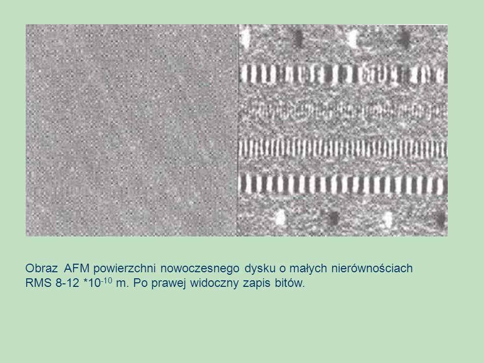 Obraz AFM powierzchni nowoczesnego dysku o małych nierównościach RMS 8-12 *10 -10 m. Po prawej widoczny zapis bitów.