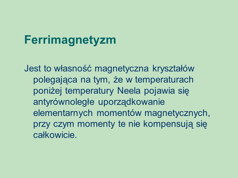 Ferrimagnetyzm Jest to własność magnetyczna kryształów polegająca na tym, że w temperaturach poniżej temperatury Neela pojawia się antyrównoległe upor