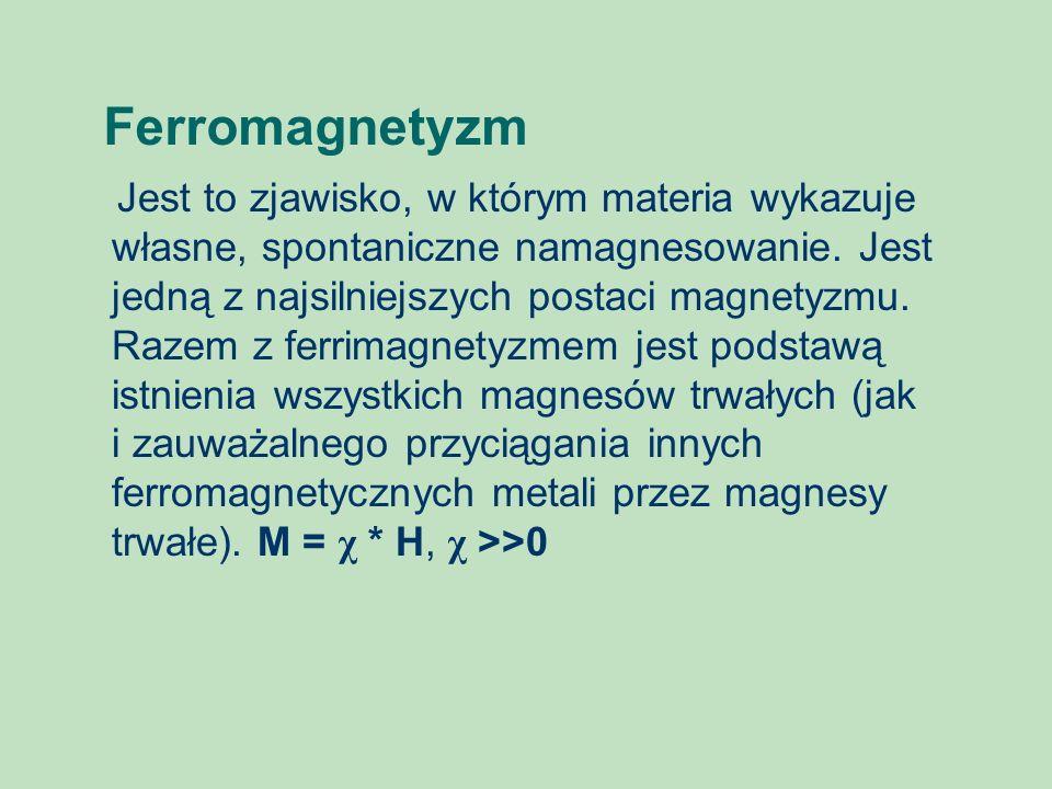 Ferromagnetyzm Jest to zjawisko, w którym materia wykazuje własne, spontaniczne namagnesowanie. Jest jedną z najsilniejszych postaci magnetyzmu. Razem