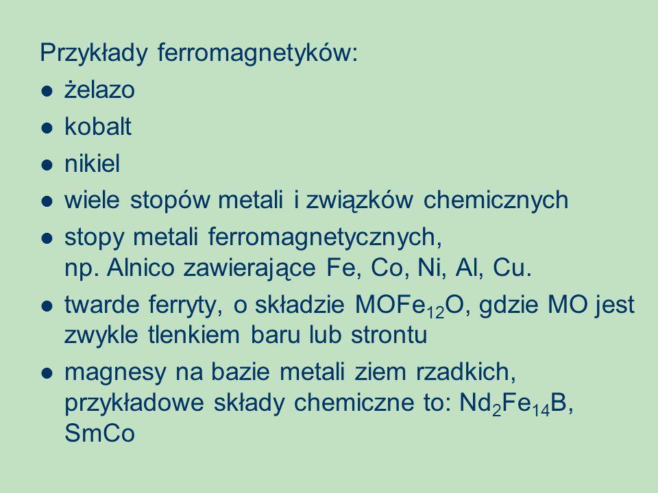 Przykłady ferromagnetyków: żelazo kobalt nikiel wiele stopów metali i związków chemicznych stopy metali ferromagnetycznych, np. Alnico zawierające Fe,
