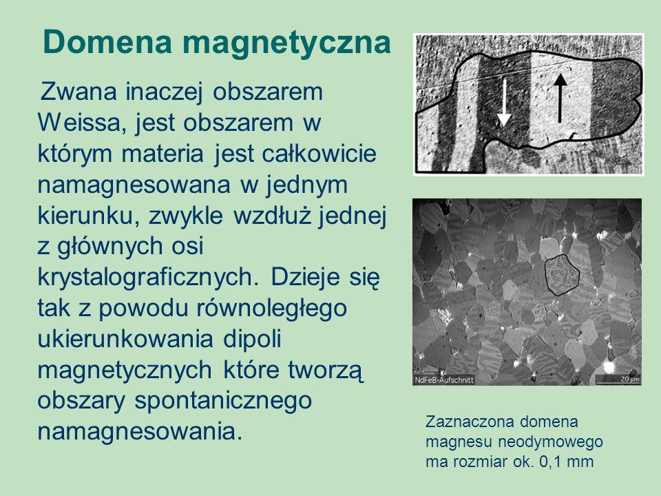Domena magnetyczna Zwana inaczej obszarem Weissa, jest obszarem w którym materia jest całkowicie namagnesowana w jednym kierunku, zwykle wzdłuż jednej