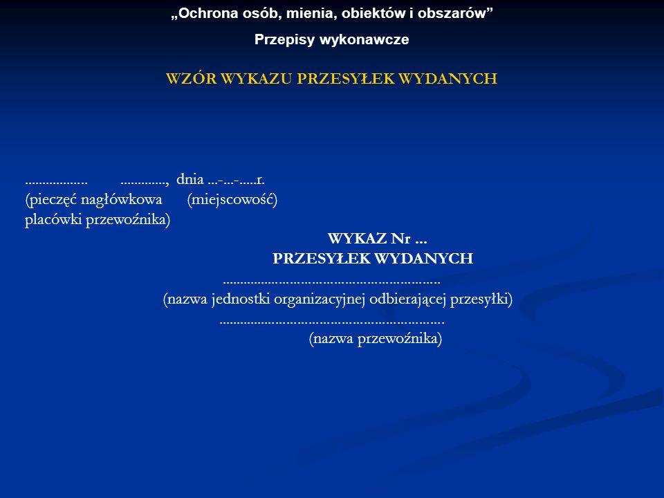 Ochrona osób, mienia, obiektów i obszarów Przepisy wykonawcze..............................., dnia...-...-.....r. (pieczęć nagłówkowa (miejscowość) pl