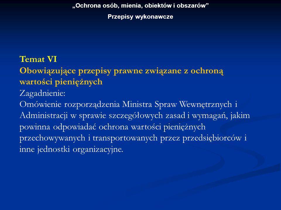 Ochrona osób, mienia, obiektów i obszarów Przepisy wykonawcze Temat VII Zasady organizacji ochrony konwoju Zagadnienia: 1.