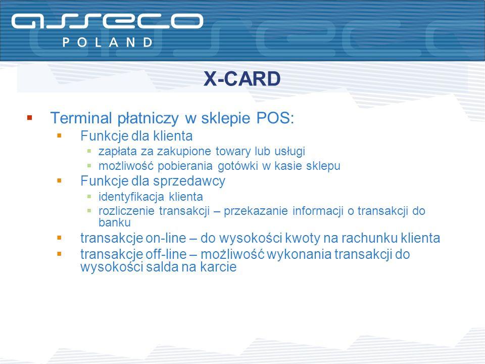 X-CARD Terminal płatniczy w sklepie POS: Funkcje dla klienta zapłata za zakupione towary lub usługi możliwość pobierania gotówki w kasie sklepu Funkcj