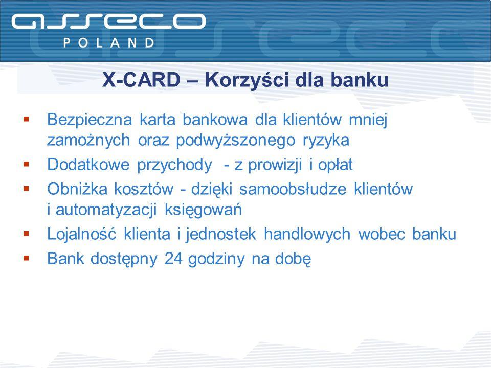 X-CARD – Korzyści dla banku Bezpieczna karta bankowa dla klientów mniej zamożnych oraz podwyższonego ryzyka Dodatkowe przychody - z prowizji i opłat O