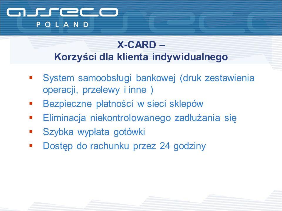 X-CARD – Korzyści dla klienta indywidualnego System samoobsługi bankowej (druk zestawienia operacji, przelewy i inne ) Bezpieczne płatności w sieci sk