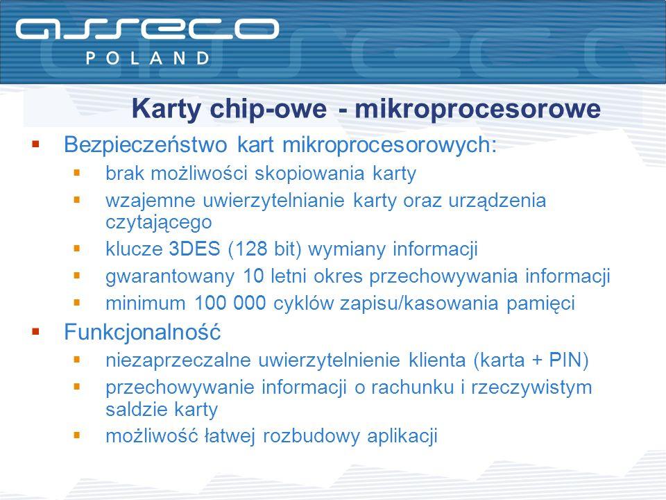 Karty chip-owe - mikroprocesorowe Bezpieczeństwo kart mikroprocesorowych: brak możliwości skopiowania karty wzajemne uwierzytelnianie karty oraz urząd
