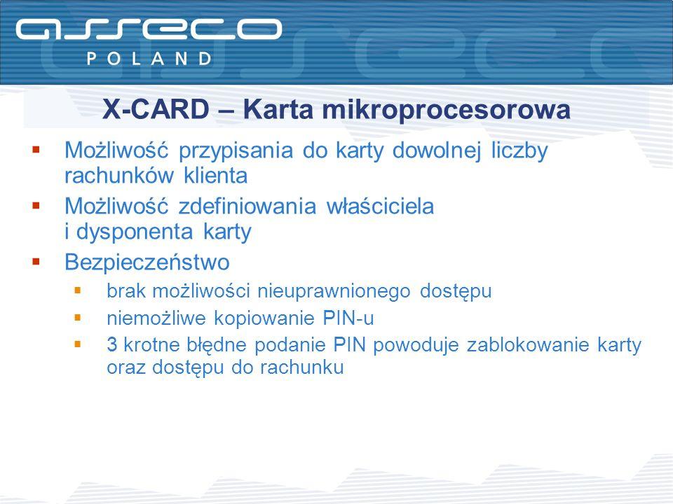 X-CARD – Karta mikroprocesorowa Możliwość przypisania do karty dowolnej liczby rachunków klienta Możliwość zdefiniowania właściciela i dysponenta kart