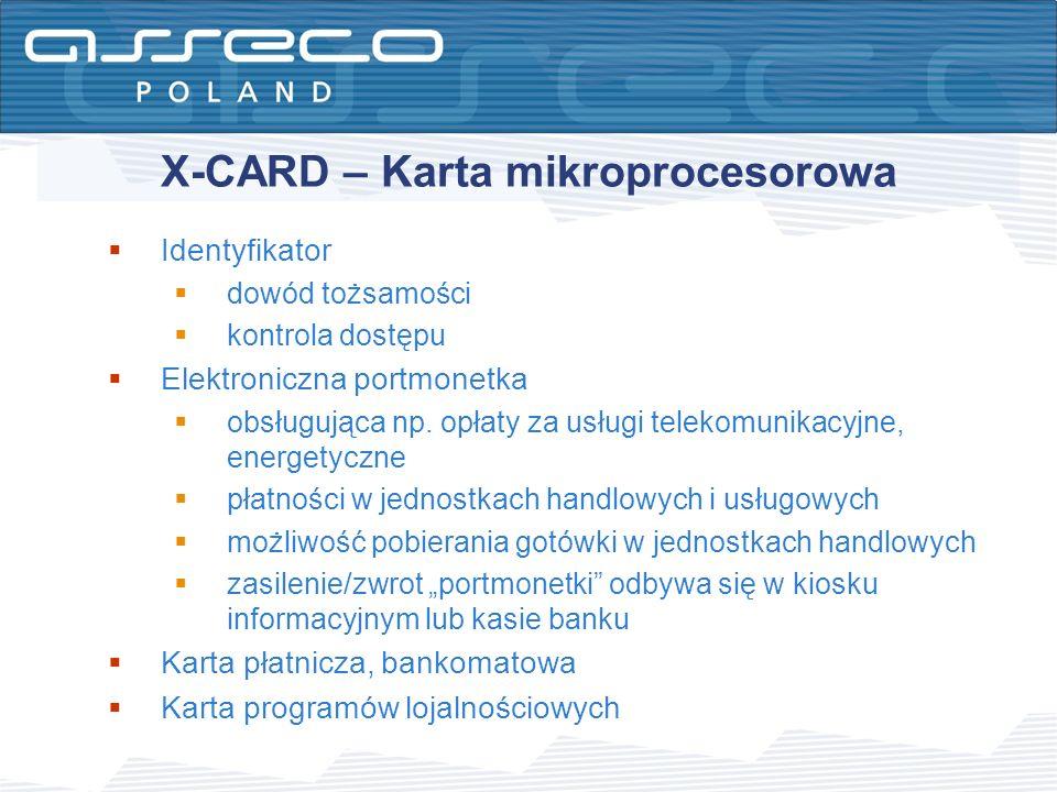 X-CARD – Karta mikroprocesorowa Identyfikator dowód tożsamości kontrola dostępu Elektroniczna portmonetka obsługująca np. opłaty za usługi telekomunik