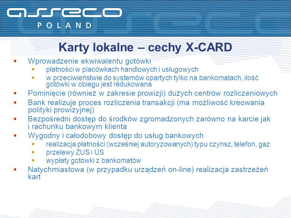 Karty lokalne – cechy X-CARD Wprowadzenie ekwiwalentu gotówki płatności w placówkach handlowych i usługowych w przeciwieństwie do systemów opartych ty