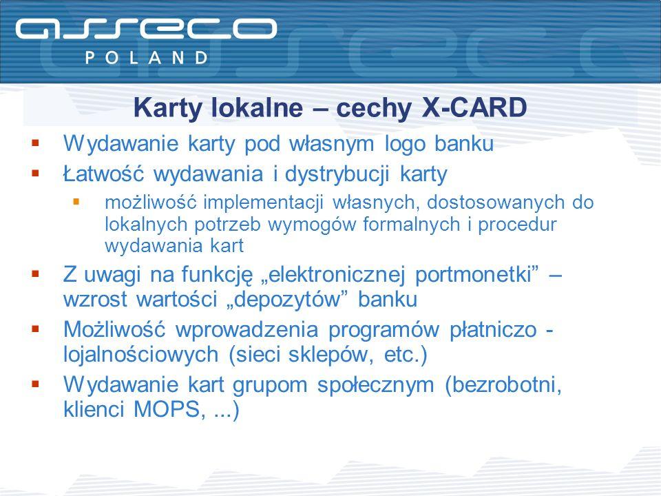 Karty lokalne – cechy X-CARD Wydawanie karty pod własnym logo banku Łatwość wydawania i dystrybucji karty możliwość implementacji własnych, dostosowan