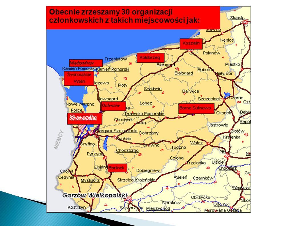 Obecnie zrzeszamy 30 organizacji członkowskich z takich miejscowości jak: