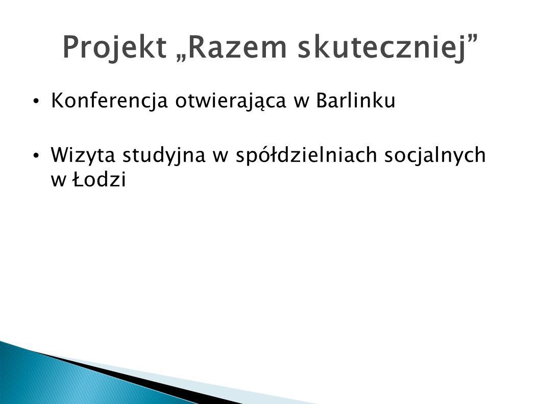 Projekt Razem skuteczniej Konferencja otwierająca w Barlinku Wizyta studyjna w spółdzielniach socjalnych w Łodzi