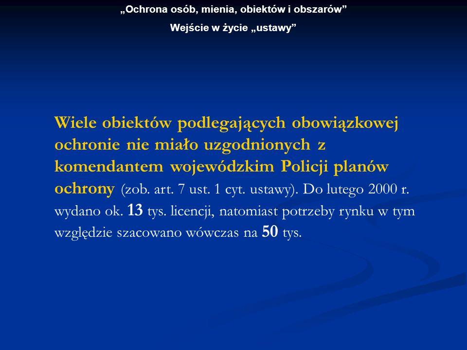 Wiele obiektów podlegających obowiązkowej ochronie nie miało uzgodnionych z komendantem wojewódzkim Policji planów ochrony (zob. art. 7 ust. 1 cyt. us