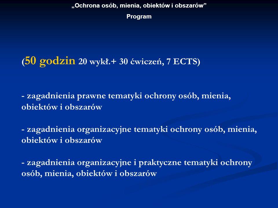 Ochrona osób, mienia, obiektów i obszarów Program ( 50 godzin 20 wykł.+ 30 ćwiczeń, 7 ECTS) - zagadnienia prawne tematyki ochrony osób, mienia, obiekt