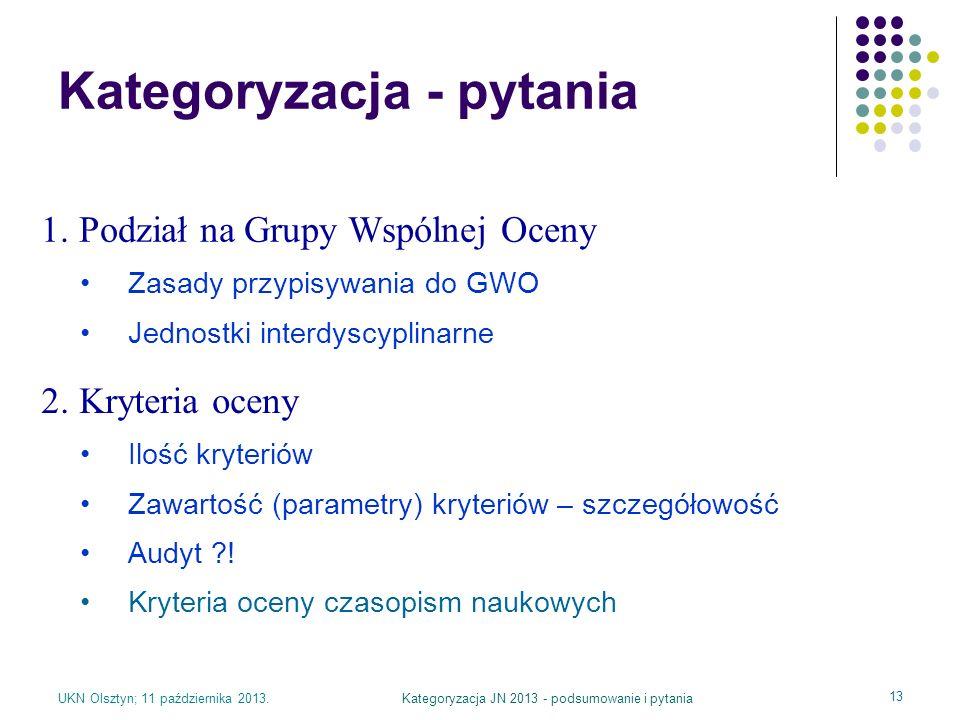 UKN Olsztyn; 11 października 2013.Kategoryzacja JN 2013 - podsumowanie i pytania 13 Kategoryzacja - pytania 1. Podział na Grupy Wspólnej Oceny Zasady
