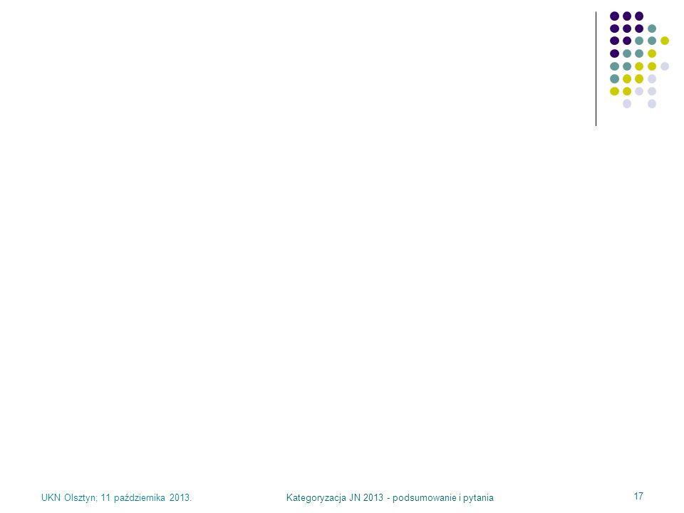 UKN Olsztyn; 11 października 2013.Kategoryzacja JN 2013 - podsumowanie i pytania 17