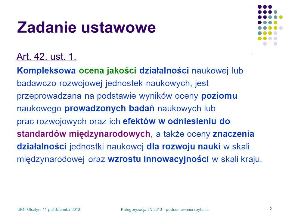 UKN Olsztyn; 11 października 2013.Kategoryzacja JN 2013 - podsumowanie i pytania 2 Zadanie ustawowe Kompleksowa ocena jakości działalności naukowej lu