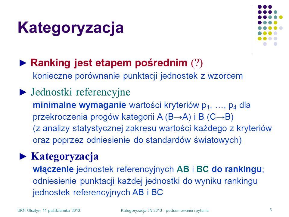 UKN Olsztyn; 11 października 2013.Kategoryzacja JN 2013 - podsumowanie i pytania 6 Kategoryzacja Ranking jest etapem pośrednim (?) konieczne porównani
