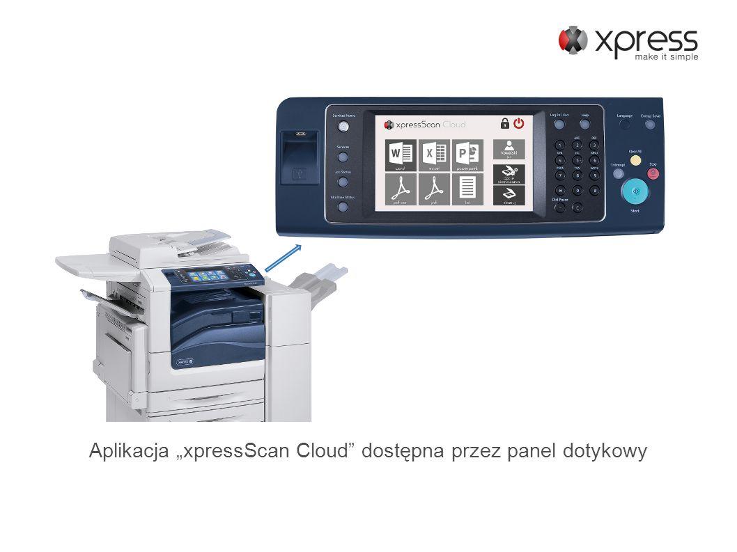 Aplikacja xpressScan Cloud dostępna przez panel dotykowy