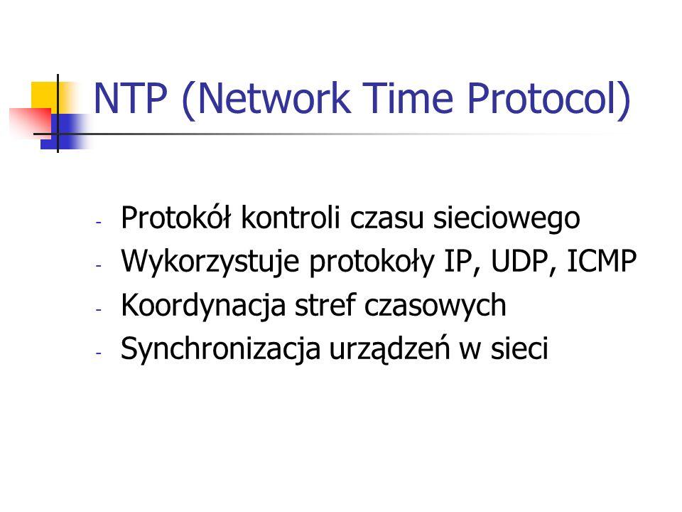 NTP (Network Time Protocol) - Protokół kontroli czasu sieciowego - Wykorzystuje protokoły IP, UDP, ICMP - Koordynacja stref czasowych - Synchronizacja