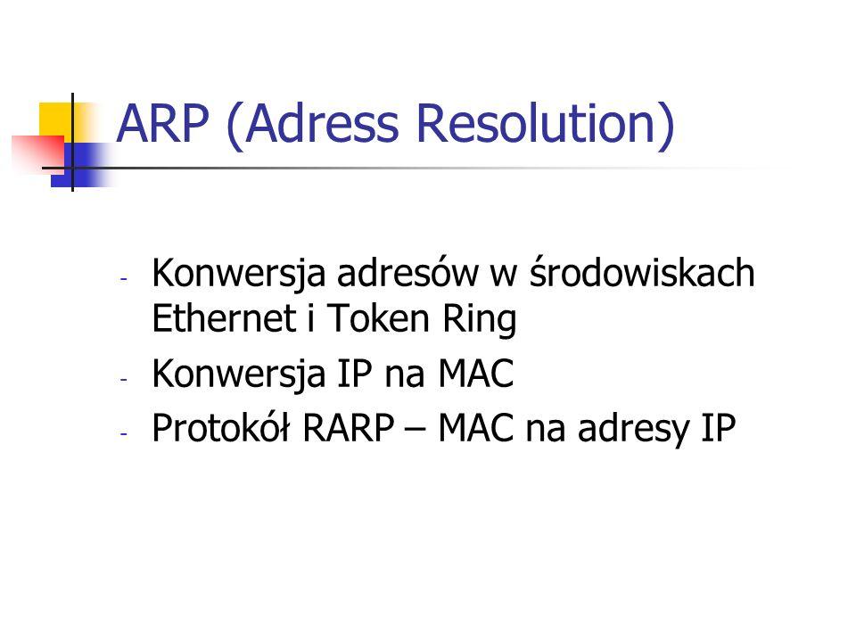 ARP (Adress Resolution) - Konwersja adresów w środowiskach Ethernet i Token Ring - Konwersja IP na MAC - Protokół RARP – MAC na adresy IP