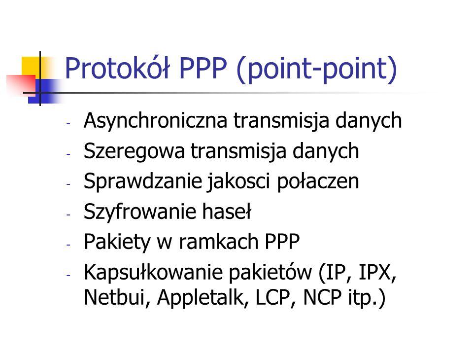 Protokół PPP (point-point) - Asynchroniczna transmisja danych - Szeregowa transmisja danych - Sprawdzanie jakosci połaczen - Szyfrowanie haseł - Pakie