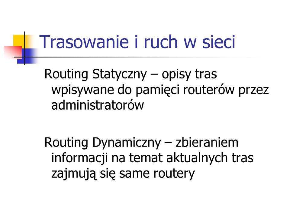 Trasowanie i ruch w sieci Routing Statyczny – opisy tras wpisywane do pamięci routerów przez administratorów Routing Dynamiczny – zbieraniem informacj