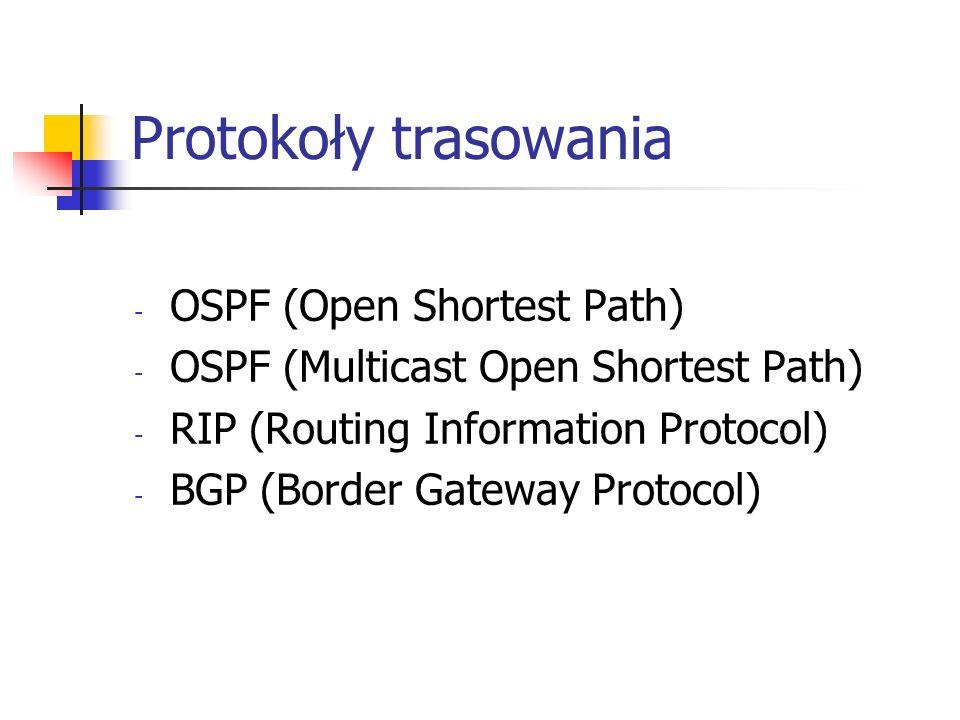 Protokoły trasowania - OSPF (Open Shortest Path) - OSPF (Multicast Open Shortest Path) - RIP (Routing Information Protocol) - BGP (Border Gateway Prot