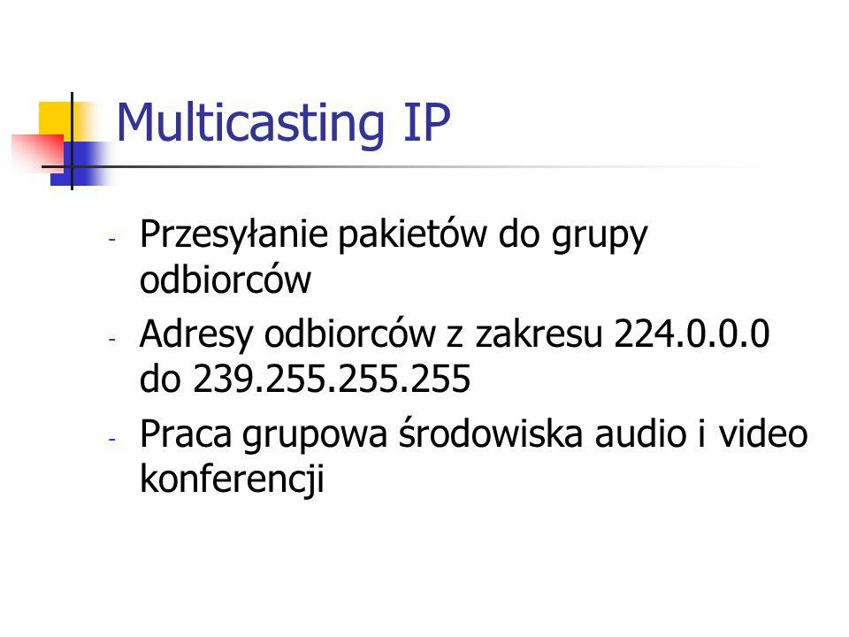 Multicasting IP - Przesyłanie pakietów do grupy odbiorców - Adresy odbiorców z zakresu 224.0.0.0 do 239.255.255.255 - Praca grupowa środowiska audio i