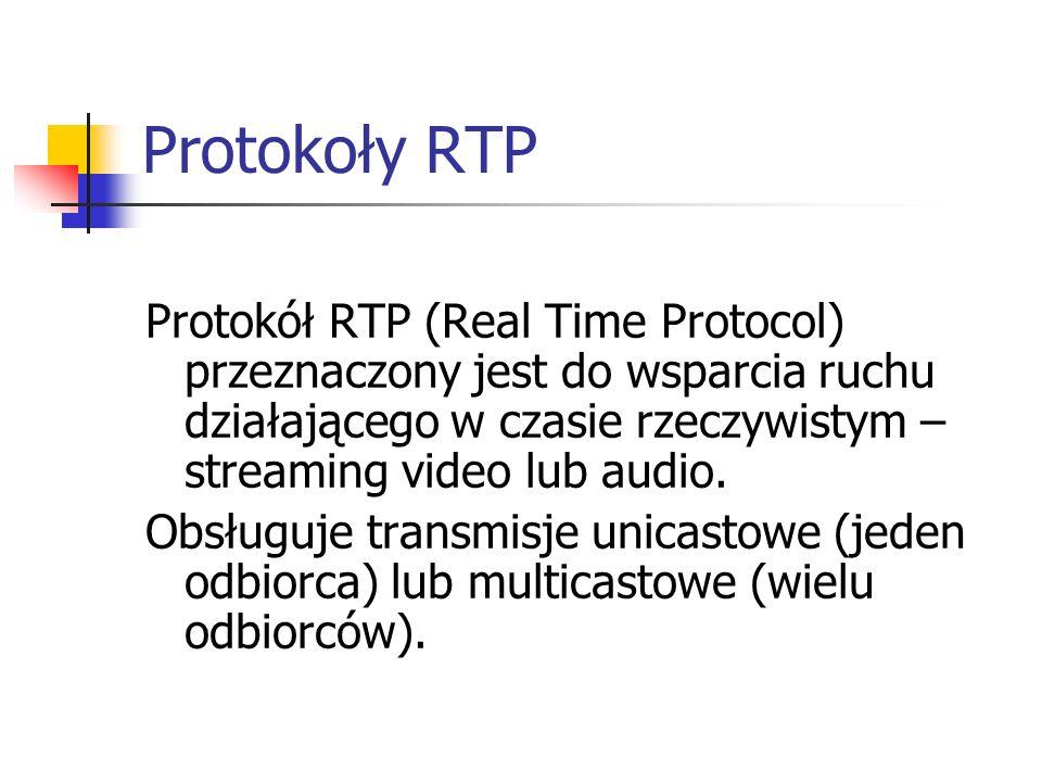 Protokoły RTP Protokół RTP (Real Time Protocol) przeznaczony jest do wsparcia ruchu działającego w czasie rzeczywistym – streaming video lub audio. Ob