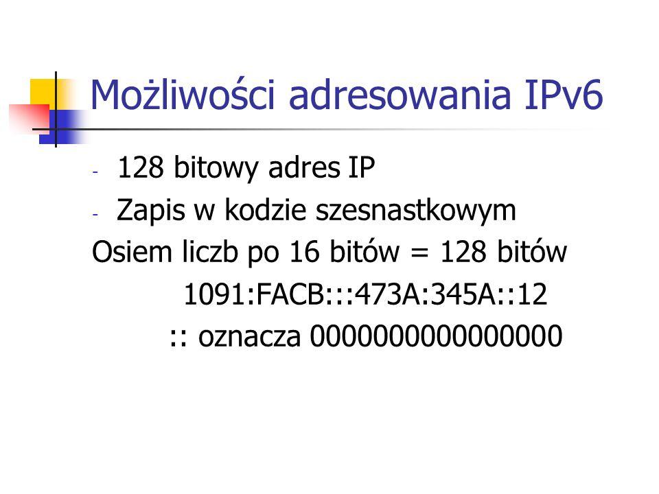 Możliwości adresowania IPv6 - 128 bitowy adres IP - Zapis w kodzie szesnastkowym Osiem liczb po 16 bitów = 128 bitów 1091:FACB:::473A:345A::12 :: ozna