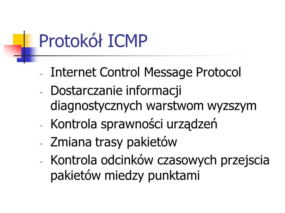 Protokół ICMP - Internet Control Message Protocol - Dostarczanie informacji diagnostycznych warstwom wyzszym - Kontrola sprawności urządzeń - Zmiana t