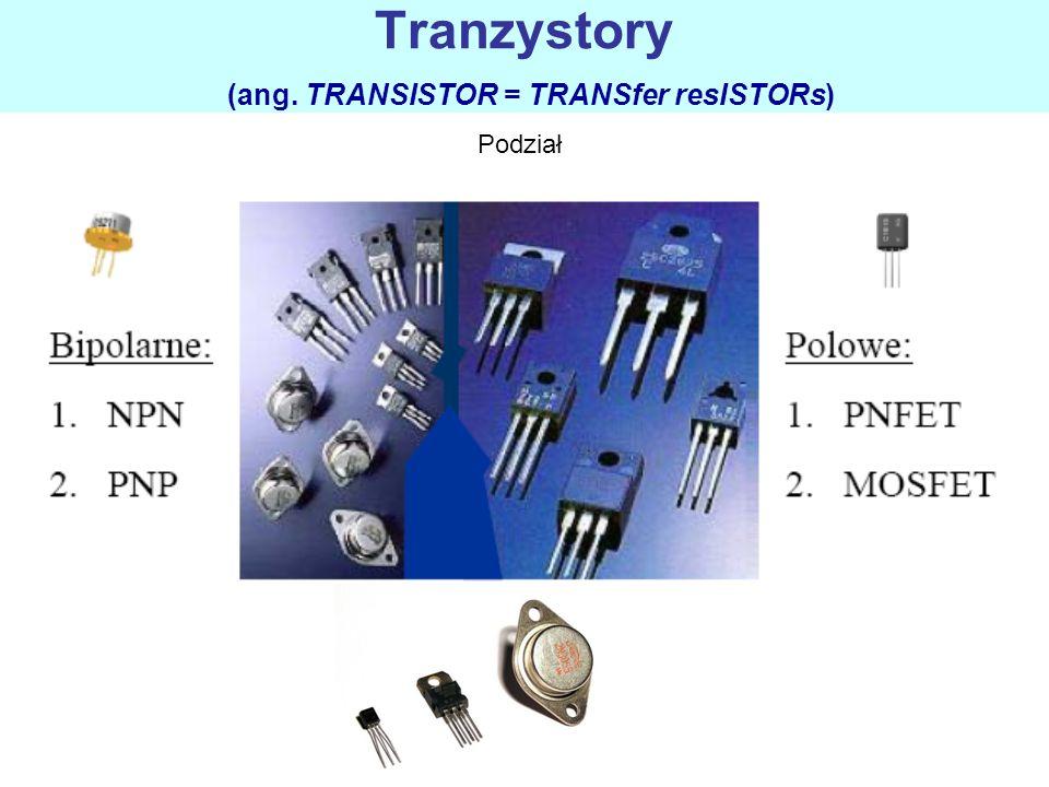 Tranzystory (ang. TRANSISTOR = TRANSfer resISTORs) Podział