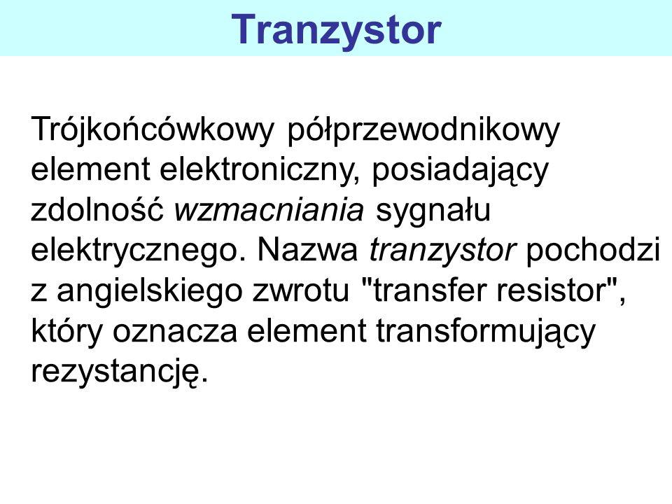 Trójkońcówkowy półprzewodnikowy element elektroniczny, posiadający zdolność wzmacniania sygnału elektrycznego. Nazwa tranzystor pochodzi z angielskieg