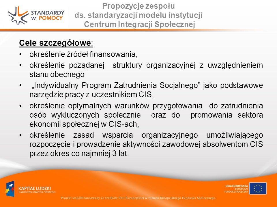Propozycje zespołu ds. standaryzacji modelu instytucji Centrum Integracji Społecznej Cele szczegółowe: określenie źródeł finansowania, określenie pożą