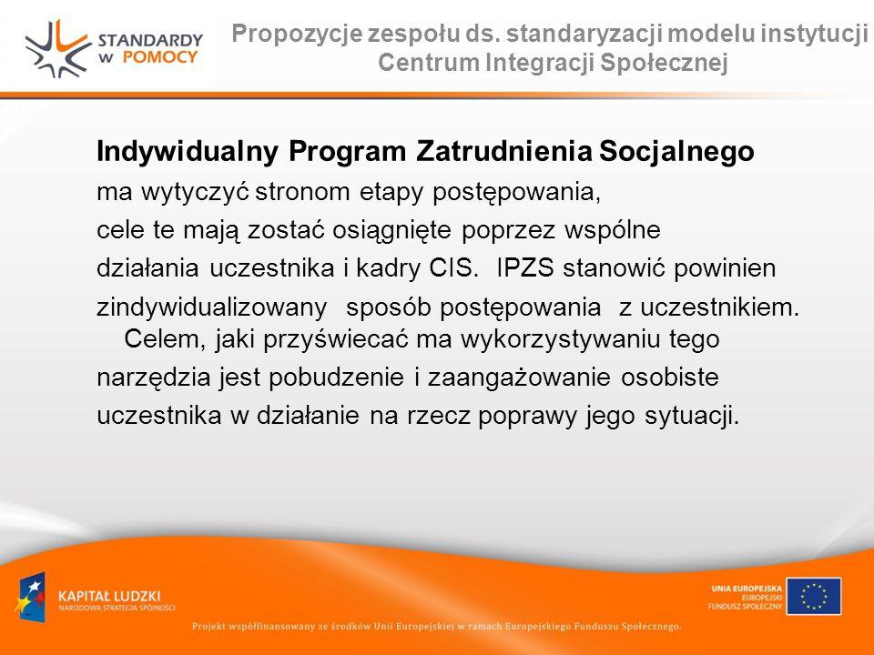 Propozycje zespołu ds. standaryzacji modelu instytucji Centrum Integracji Społecznej Indywidualny Program Zatrudnienia Socjalnego ma wytyczyć stronom