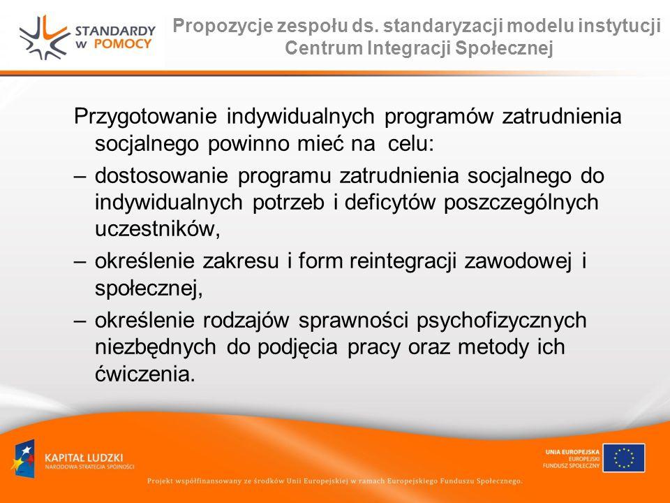 Propozycje zespołu ds. standaryzacji modelu instytucji Centrum Integracji Społecznej Przygotowanie indywidualnych programów zatrudnienia socjalnego po