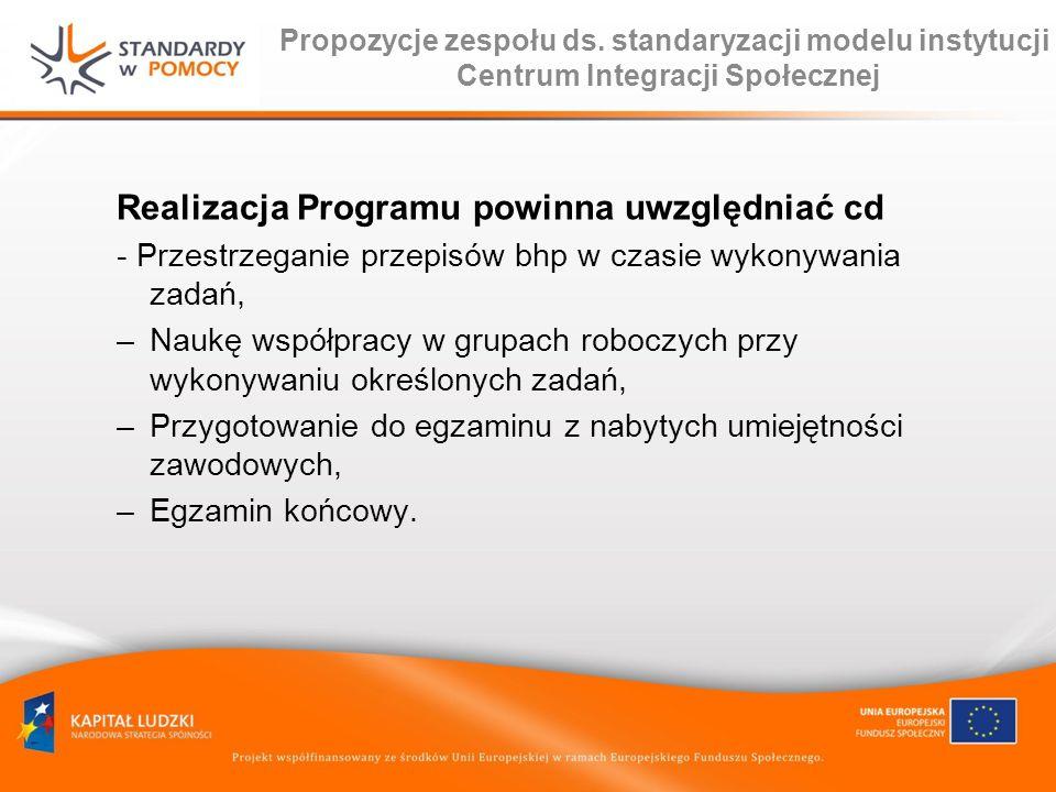 Propozycje zespołu ds. standaryzacji modelu instytucji Centrum Integracji Społecznej Realizacja Programu powinna uwzględniać cd - Przestrzeganie przep