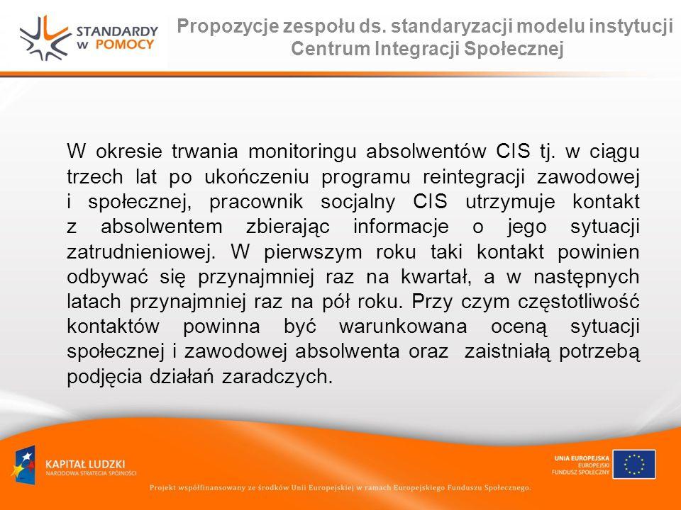 Propozycje zespołu ds. standaryzacji modelu instytucji Centrum Integracji Społecznej W okresie trwania monitoringu absolwentów CIS tj. w ciągu trzech